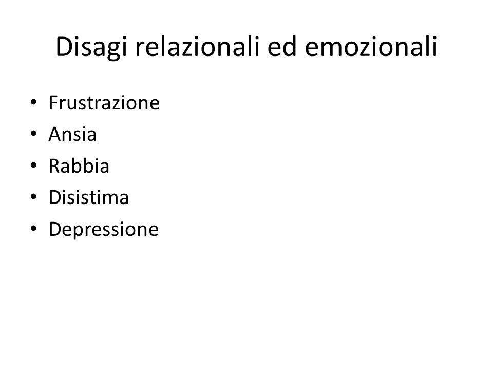 Disagi relazionali ed emozionali Frustrazione Ansia Rabbia Disistima Depressione