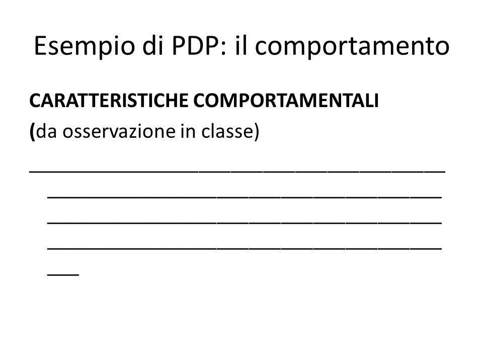 Esempio di PDP: il comportamento CARATTERISTICHE COMPORTAMENTALI (da osservazione in classe) _______________________________________ _________________