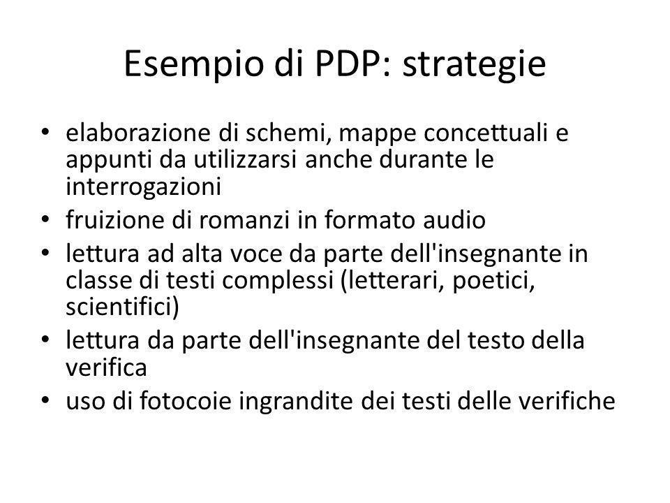 Esempio di PDP: strategie elaborazione di schemi, mappe concettuali e appunti da utilizzarsi anche durante le interrogazioni fruizione di romanzi in f