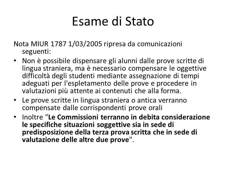 Esame di Stato Nota MIUR 1787 1/03/2005 ripresa da comunicazioni seguenti: Non è possibile dispensare gli alunni dalle prove scritte di lingua stranie