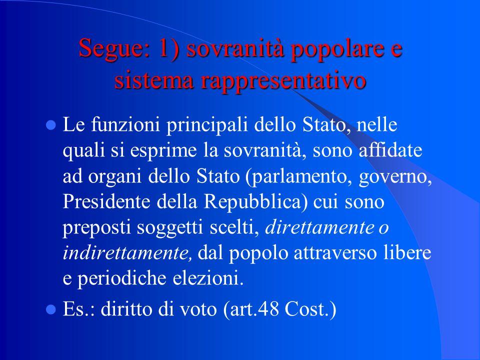 Le nuove tendenze della sovranità (la crisi della nozione tradizionale della sovranità 1) sovranità popolare e sistema rappresentativo 2) sovranità po
