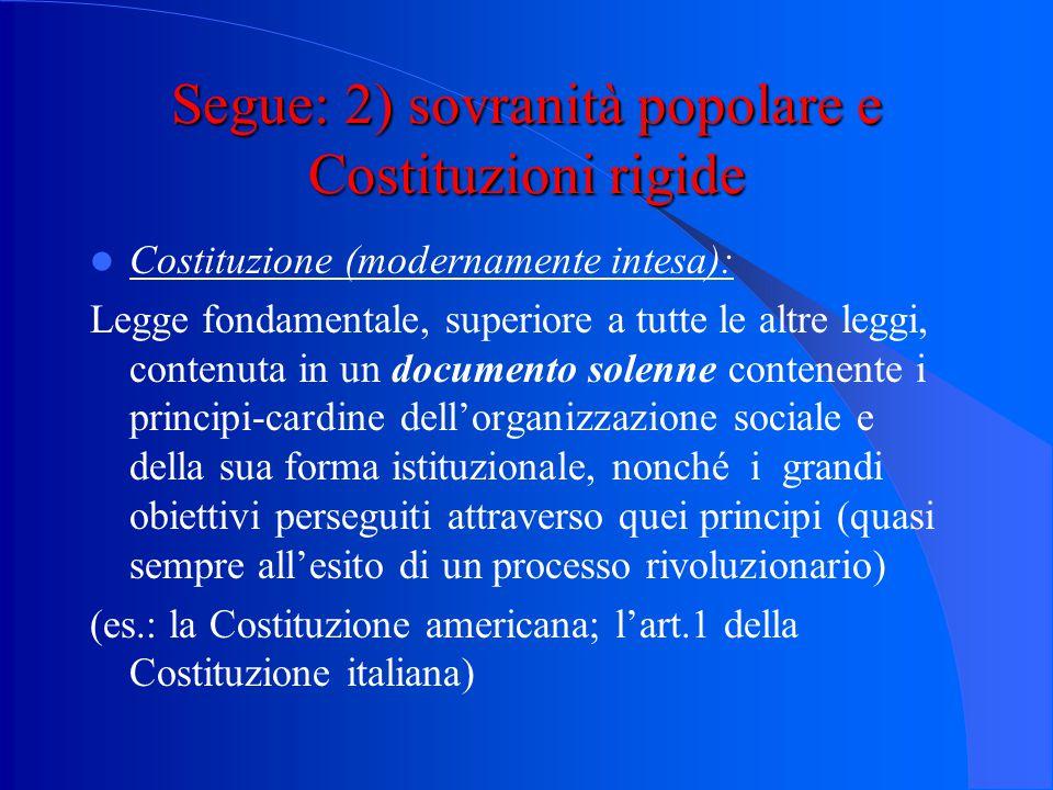 Segue: 1) sovranità popolare e sistema rappresentativo Le funzioni principali dello Stato, nelle quali si esprime la sovranità, sono affidate ad organ