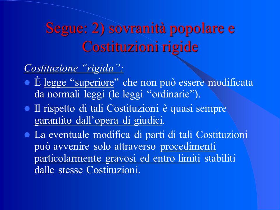 Segue: 2) sovranità popolare e Costituzioni rigide Costituzione (modernamente intesa): Legge fondamentale, superiore a tutte le altre leggi, contenuta
