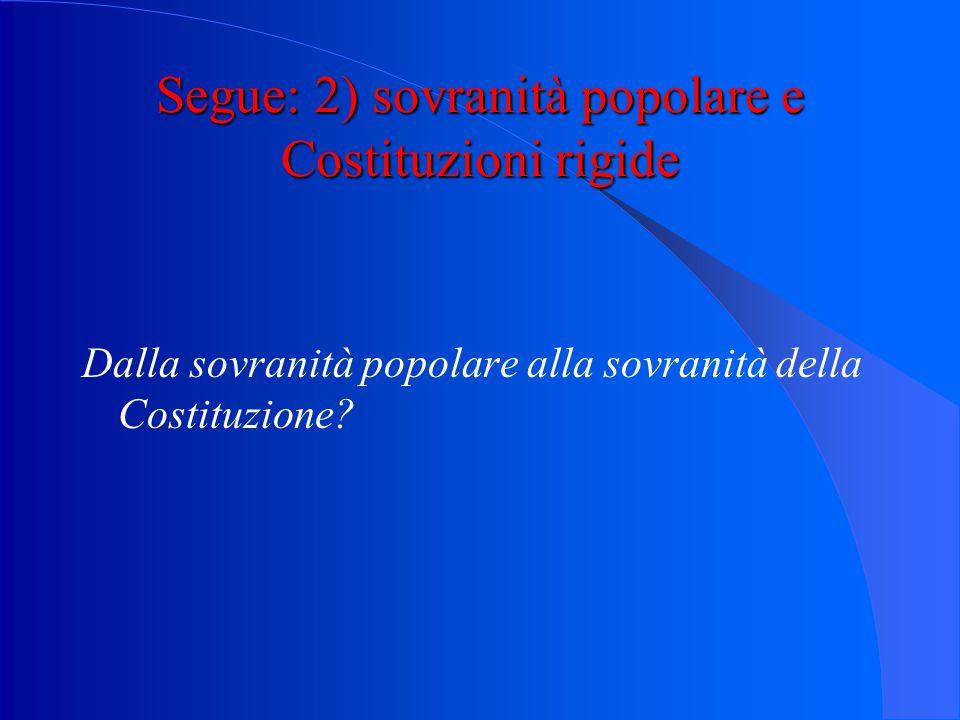 """Segue: 2) sovranità popolare e Costituzioni rigide L'esempio italiano: - art.1 Cost.: """"(…) la sovranità appartiene al popolo che la esercita nelle for"""