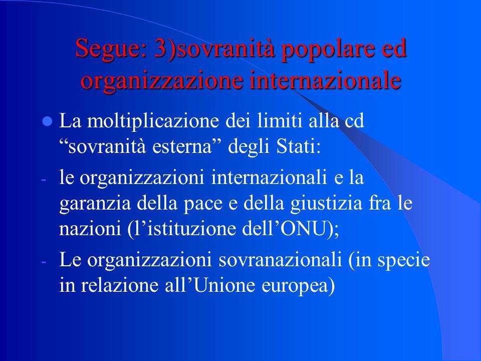 Segue: 2) sovranità popolare e Costituzioni rigide Dalla sovranità popolare alla sovranità della Costituzione?