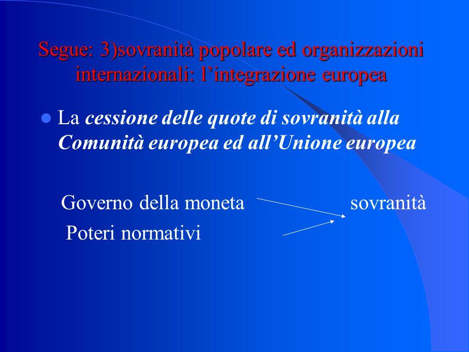 """Segue: 3)sovranità popolare ed organizzazioni internazionali : l'esempio italiano l'art.11 Cost.: """"l'Italia (…) consente, in condizioni di parità con"""