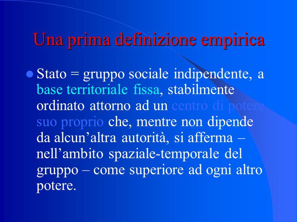 Una prima definizione empirica Stato = gruppo sociale indipendente, a base territoriale fissa, stabilmente ordinato attorno ad un centro di potere suo proprio che, mentre non dipende da alcun'altra autorità, si afferma – nell'ambito spaziale-temporale del gruppo – come superiore ad ogni altro potere.
