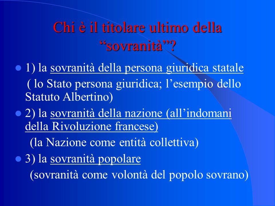 A) la sovranità le varie accezioni della sovranità: a) potere supremo di comando (preminenza del potere statale su ogni altro potere e sua originariet