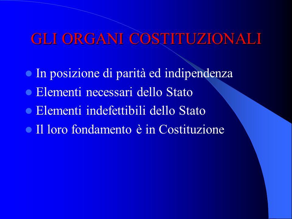 Organi dello Stato burocratici Organi costituzionali rappresentativi