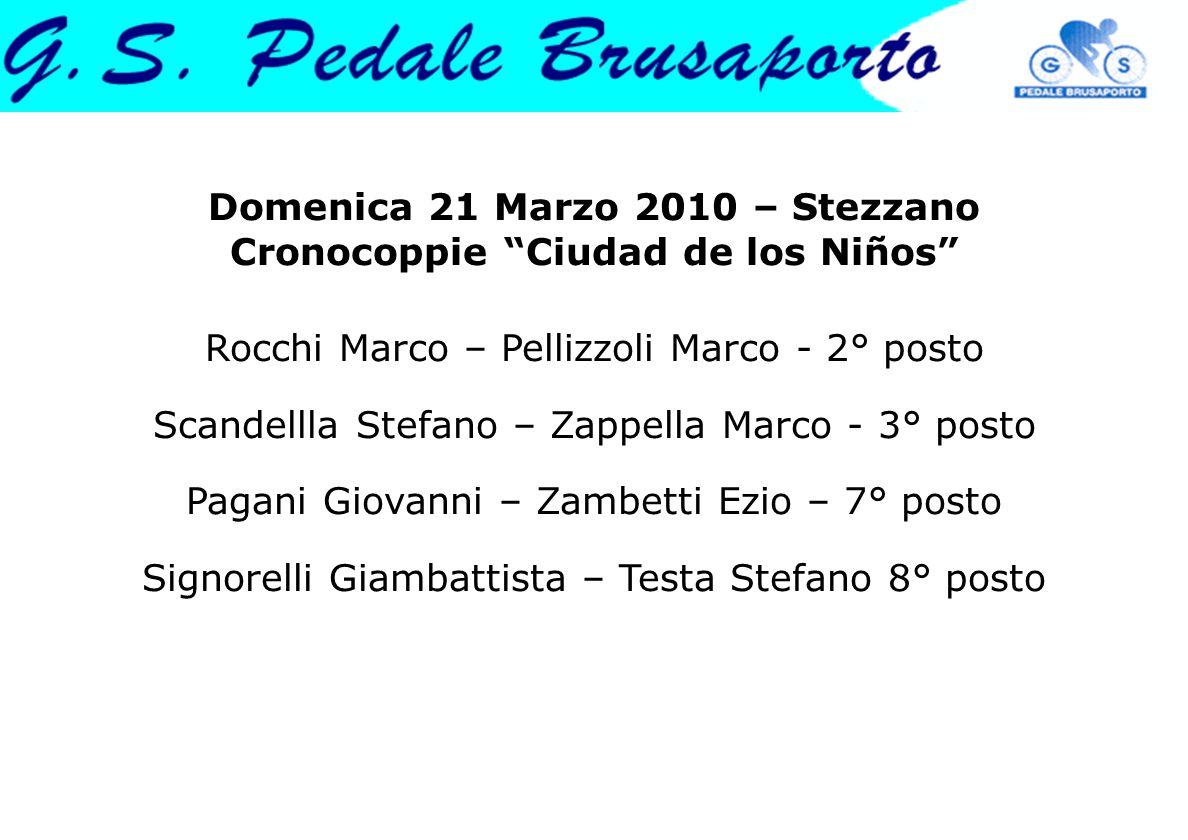 "Domenica 21 Marzo 2010 – Stezzano Cronocoppie ""Ciudad de los Niños"" Rocchi Marco – Pellizzoli Marco - 2° posto Scandellla Stefano – Zappella Marco - 3"