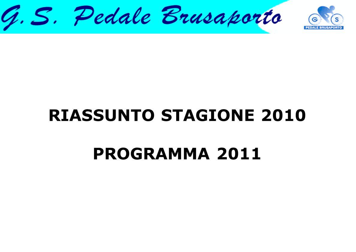 RIASSUNTO STAGIONE 2010 PROGRAMMA 2011