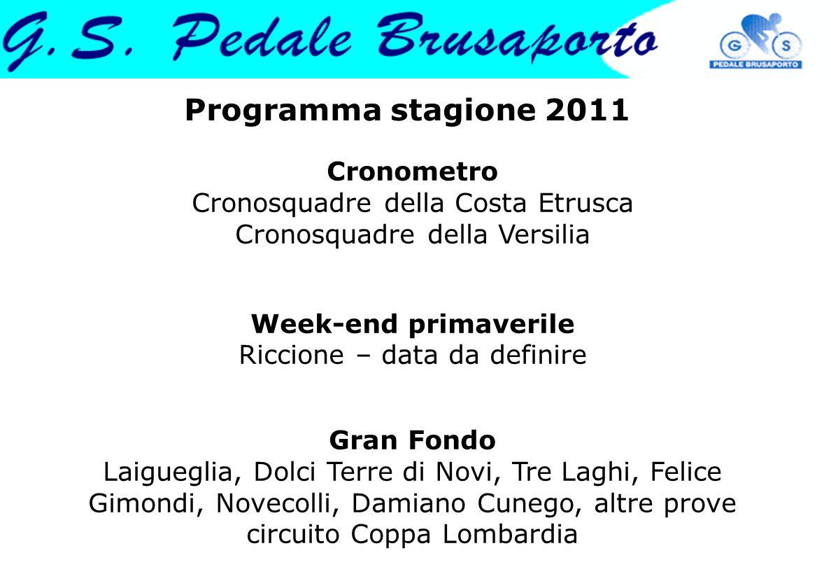Programma stagione 2011 Cronometro Cronosquadre della Costa Etrusca Cronosquadre della Versilia Week-end primaverile Riccione – data da definire Gran