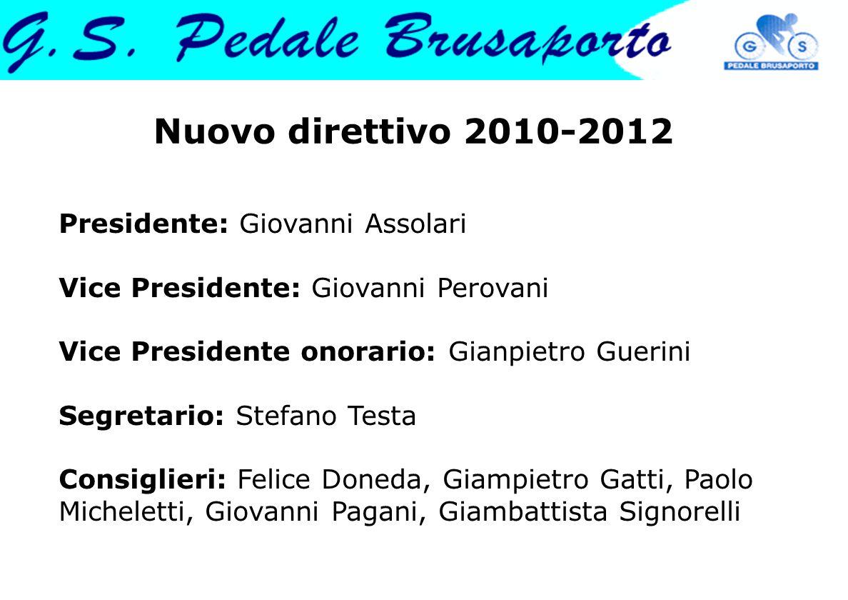 Nuovo direttivo 2010-2012 Presidente: Giovanni Assolari Vice Presidente: Giovanni Perovani Vice Presidente onorario: Gianpietro Guerini Segretario: St