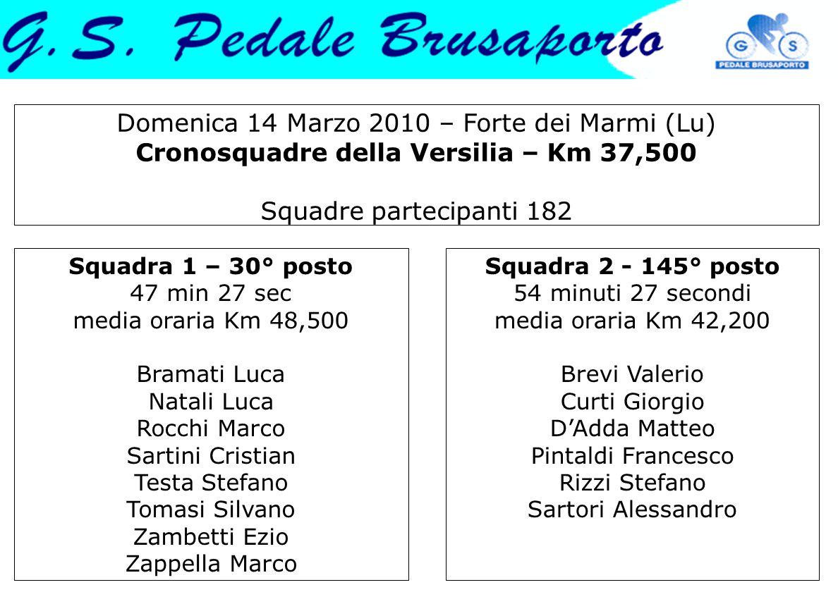 Domenica 14 Marzo 2010 – Forte dei Marmi (Lu) Cronosquadre della Versilia – Km 37,500 Squadre partecipanti 182 Squadra 1 – 30° posto 47 min 27 sec med
