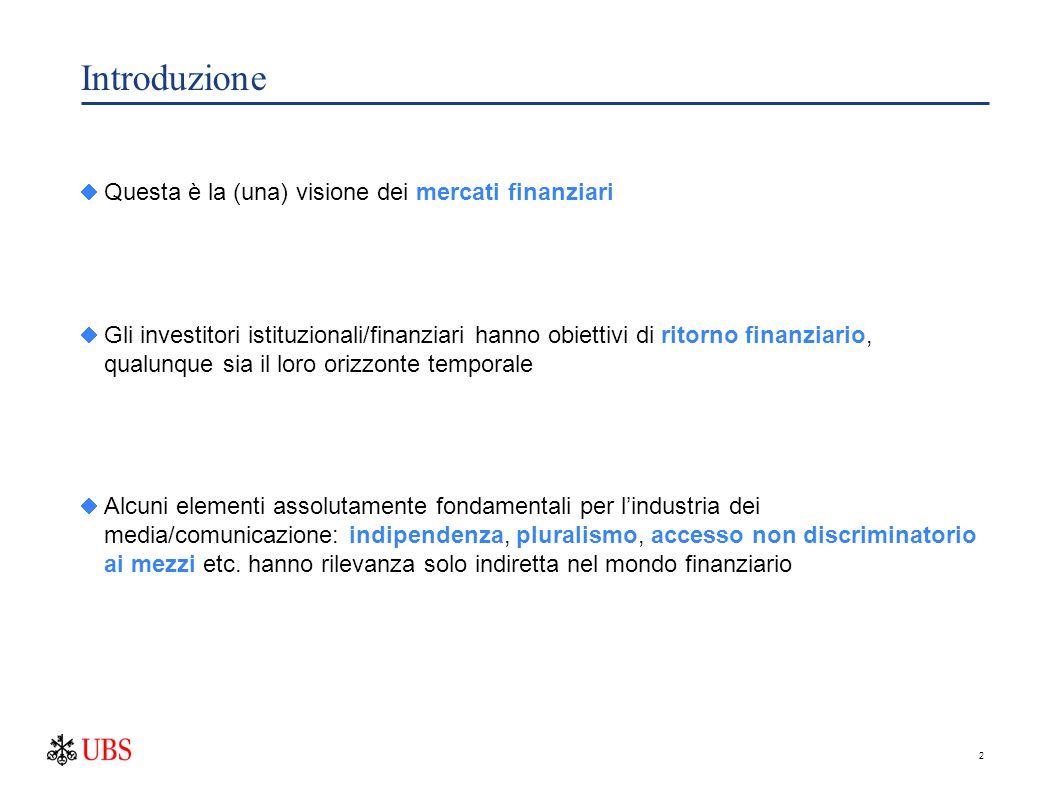 2 Introduzione  Questa è la (una) visione dei mercati finanziari  Gli investitori istituzionali/finanziari hanno obiettivi di ritorno finanziario, q