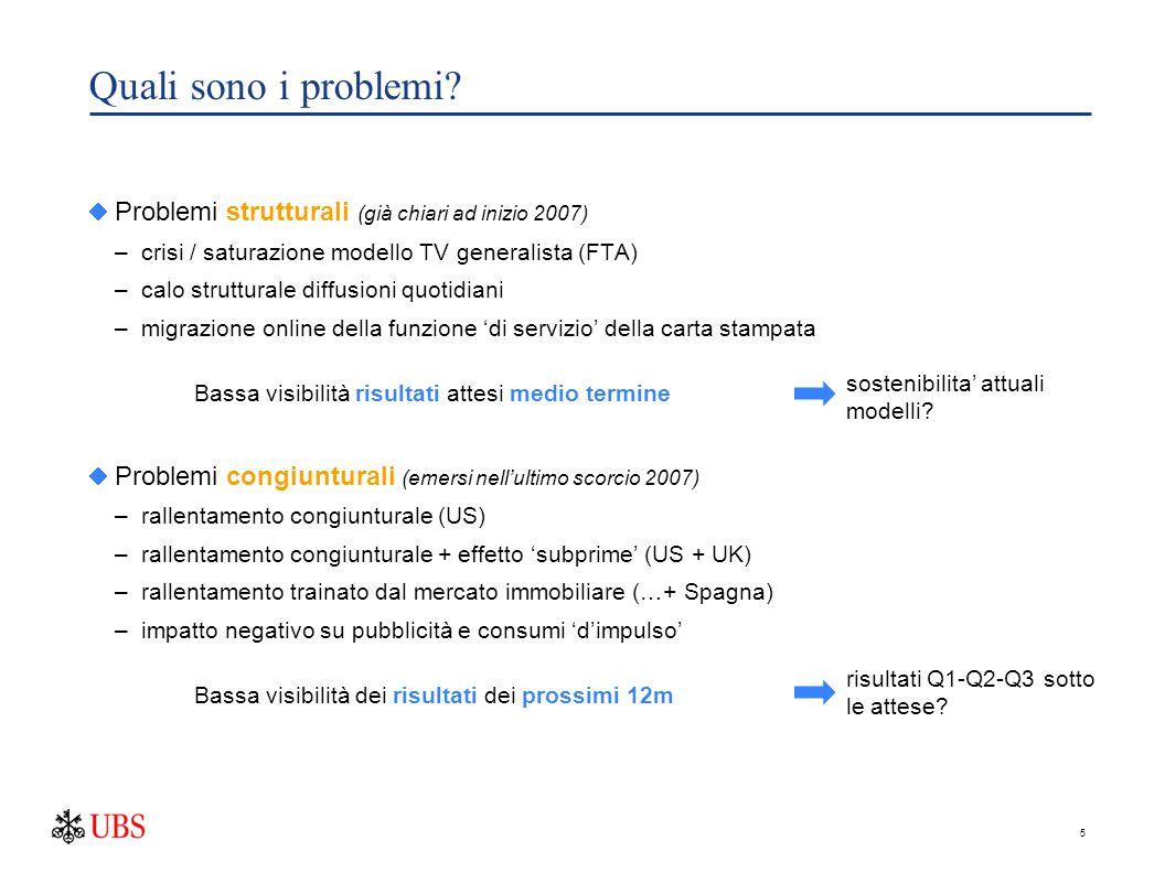 5 Quali sono i problemi?  Problemi strutturali (già chiari ad inizio 2007) –crisi / saturazione modello TV generalista (FTA) –calo strutturale diffus