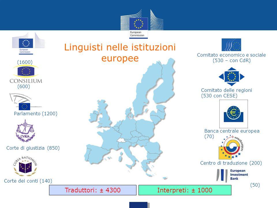 Linguisti nelle istituzioni europee (600) Parlamento (1200) Corte di giustizia (850) Corte dei conti (140) Comitato economico e sociale (530 – con CdR