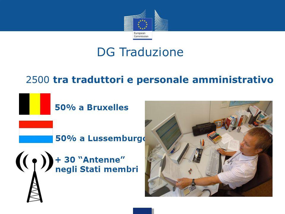 """DG Traduzione 2500 tra traduttori e personale amministrativo 50% a Bruxelles 50% a Lussemburgo + 30 """"Antenne"""" negli Stati membri"""