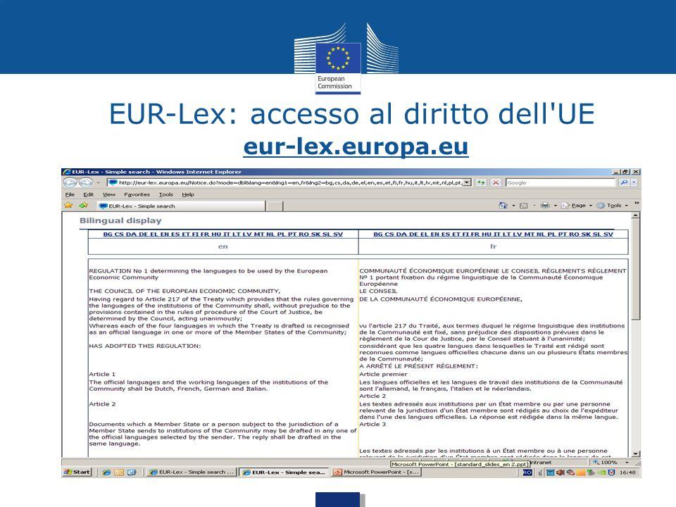 EUR-Lex: accesso al diritto dell'UE eur-lex.europa.eu