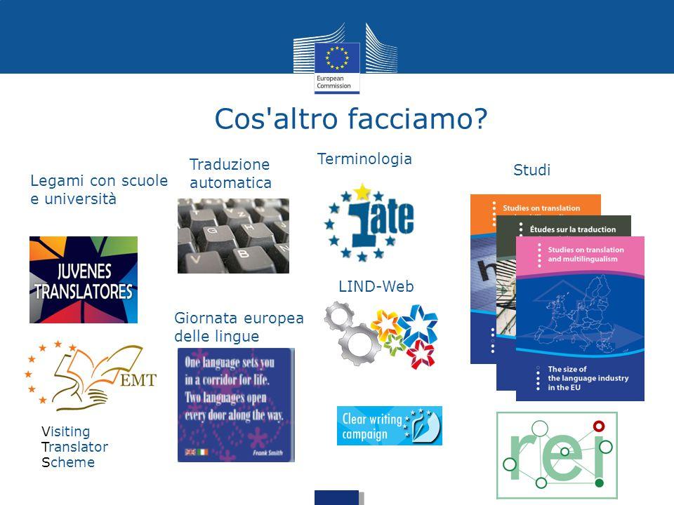 Cos'altro facciamo? Legami con scuole e università Traduzione automatica LIND-Web Studi Terminologia Giornata europea delle lingue Visiting Translator