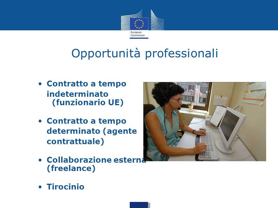 Opportunità professionali Contratto a tempo indeterminato (funzionario UE) Contratto a tempo determinato (agente contrattuale) Collaborazione esterna