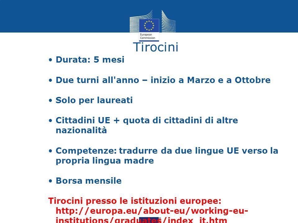 Durata: 5 mesi Due turni all'anno – inizio a Marzo e a Ottobre Solo per laureati Cittadini UE + quota di cittadini di altre nazionalità Competenze: tr