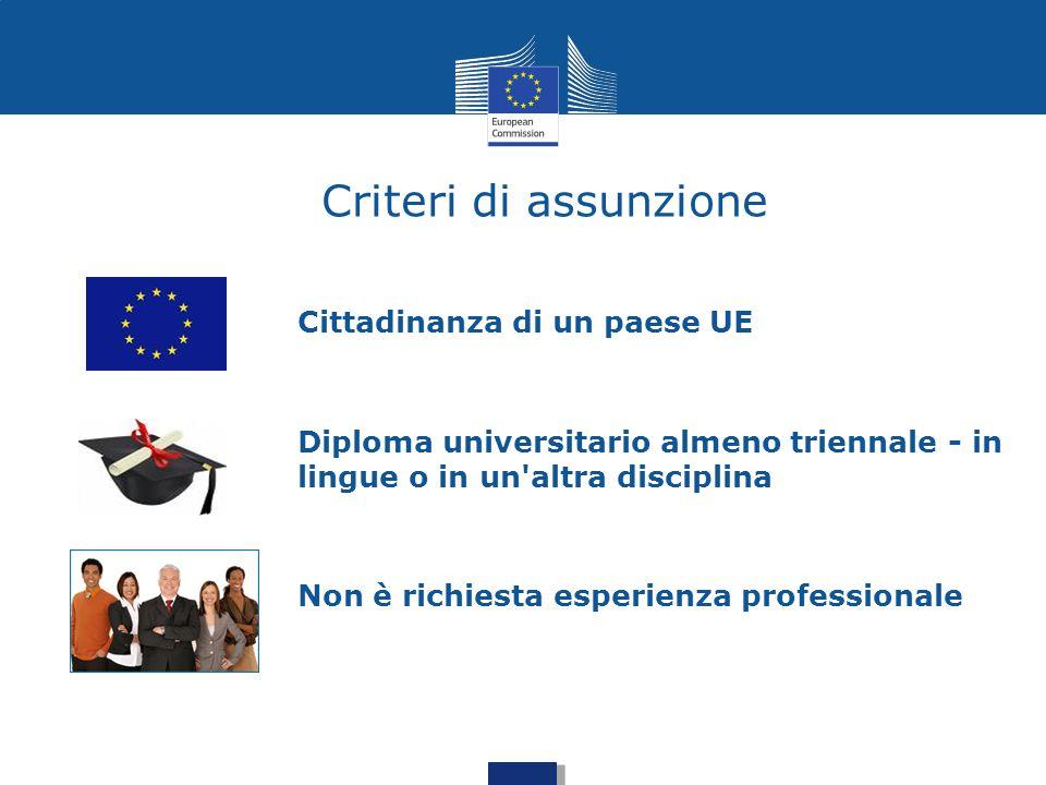 Criteri di assunzione Cittadinanza di un paese UE Diploma universitario almeno triennale - in lingue o in un'altra disciplina Non è richiesta esperien