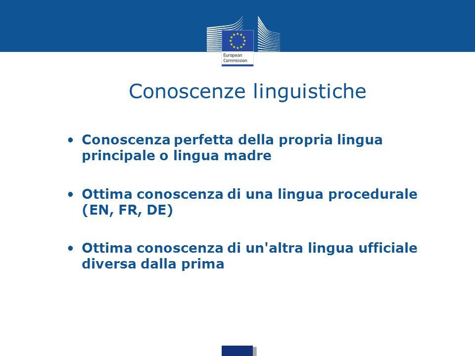 Conoscenze linguistiche Conoscenza perfetta della propria lingua principale o lingua madre Ottima conoscenza di una lingua procedurale (EN, FR, DE) Ot