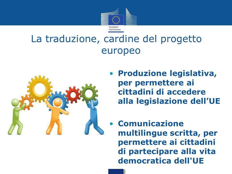 La traduzione, cardine del progetto europeo Produzione legislativa, per permettere ai cittadini di accedere alla legislazione dell'UE Comunicazione mu