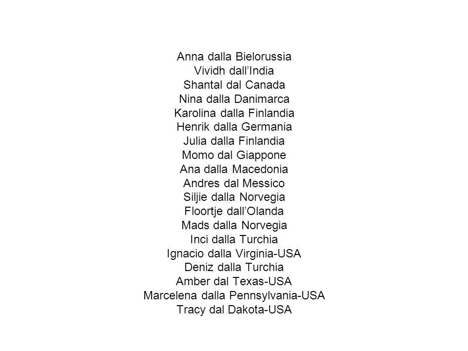 Anna dalla Bielorussia Vividh dall'India Shantal dal Canada Nina dalla Danimarca Karolina dalla Finlandia Henrik dalla Germania Julia dalla Finlandia Momo dal Giappone Ana dalla Macedonia Andres dal Messico Siljie dalla Norvegia Floortje dall'Olanda Mads dalla Norvegia Inci dalla Turchia Ignacio dalla Virginia-USA Deniz dalla Turchia Amber dal Texas-USA Marcelena dalla Pennsylvania-USA Tracy dal Dakota-USA