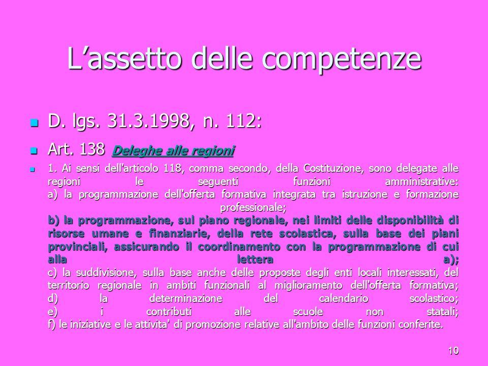 11 L'assetto delle competenze D.lgs. 31.03.1998, n.