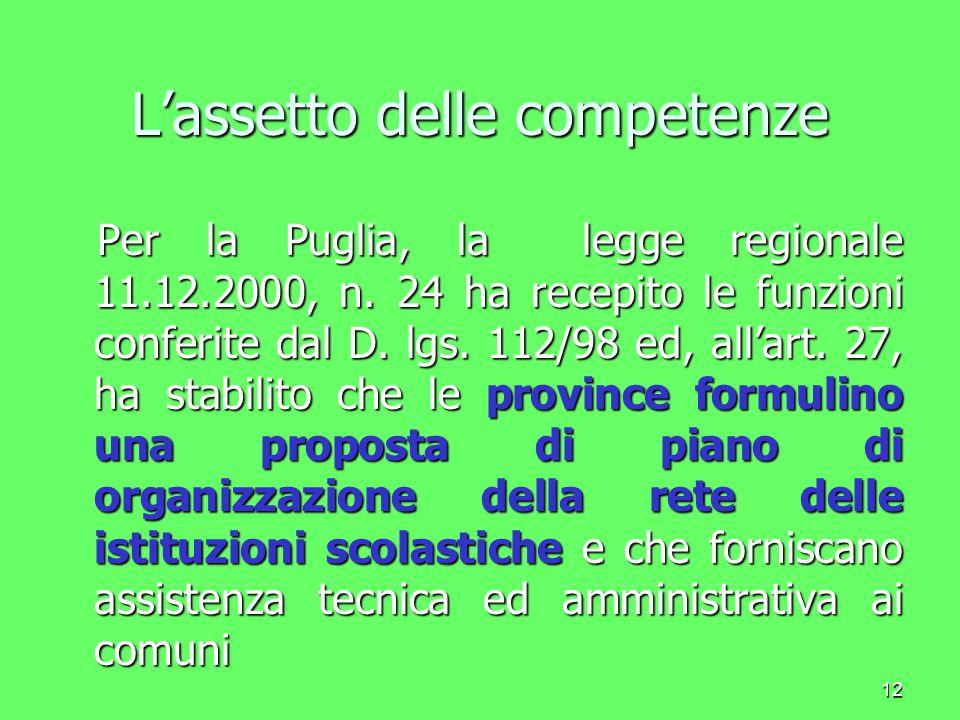 13 L'assetto delle competenze La legge costituzionale 18 ottobre 2001, n.