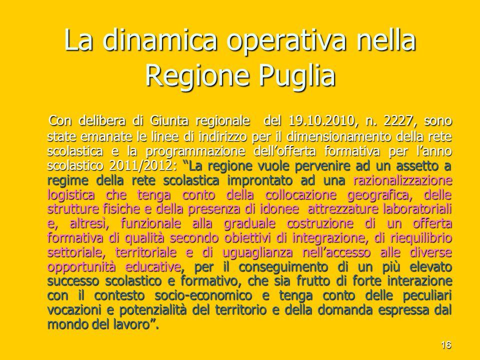 17 L'ultima delibera della regione Puglia sulla rete scolastica La delibera n.