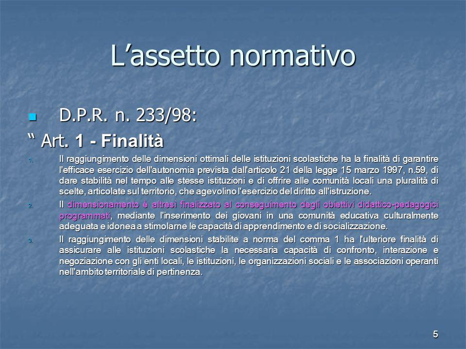6 L'assetto normativo D.P.R 233/98: Art.2 - Parametri 1.
