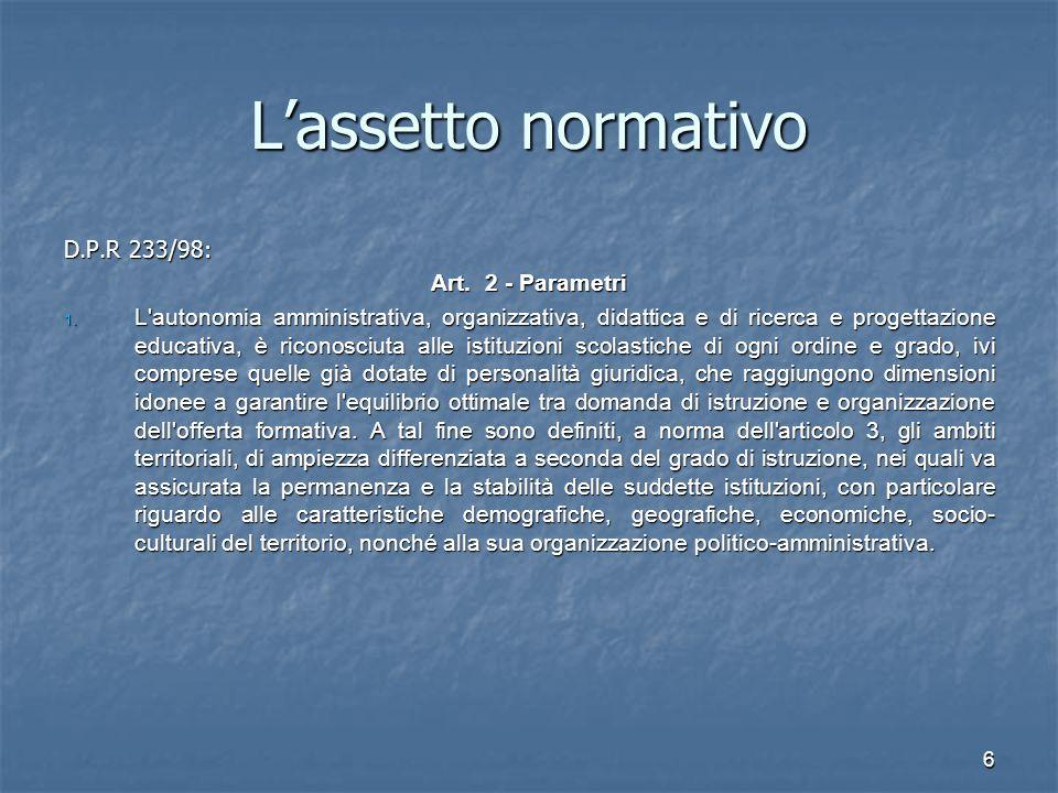 7 L'assetto normativo D.P.R.233/98: art. 2 Parametri D.P.R.
