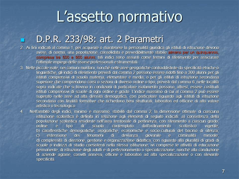 8 L'assetto normativo D.P.R.233/98: art. 2 Parametri D.P.R.