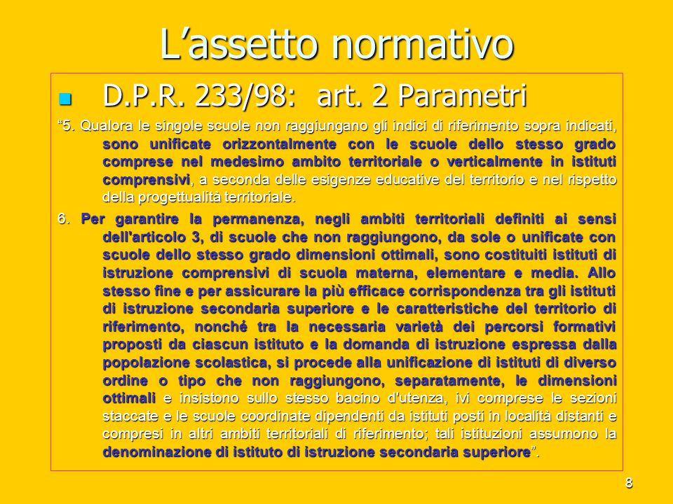 9 L'assetto delle competenze D.P.R.233/98 - Art. 3 D.P.R.