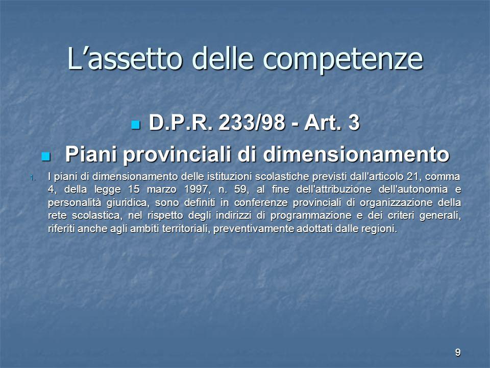 10 L'assetto delle competenze D.lgs. 31.3.1998, n.