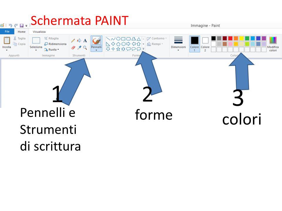 Schermata PAINT 1 2 3 Pennelli e Strumenti di scrittura forme colori