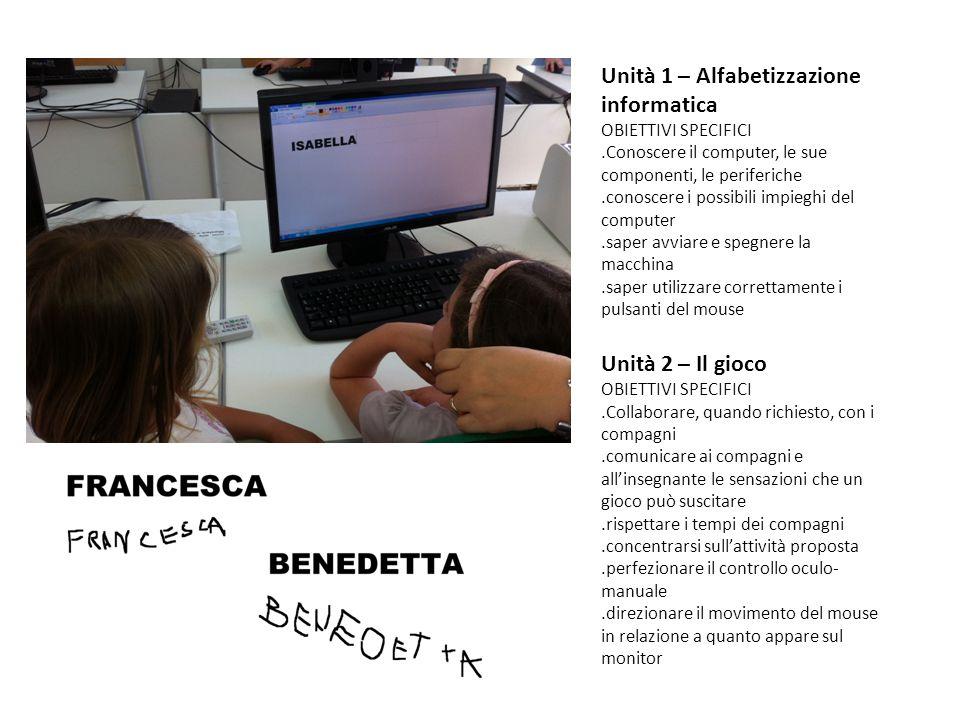 Unità 1 – Alfabetizzazione informatica OBIETTIVI SPECIFICI.Conoscere il computer, le sue componenti, le periferiche.conoscere i possibili impieghi del