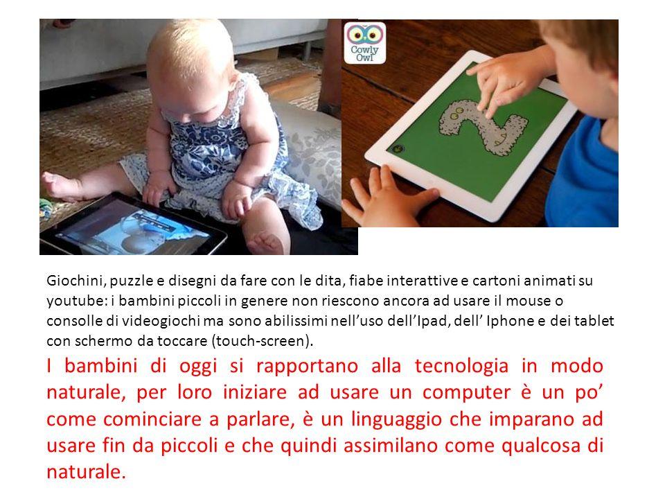 Giochini, puzzle e disegni da fare con le dita, fiabe interattive e cartoni animati su youtube: i bambini piccoli in genere non riescono ancora ad usa