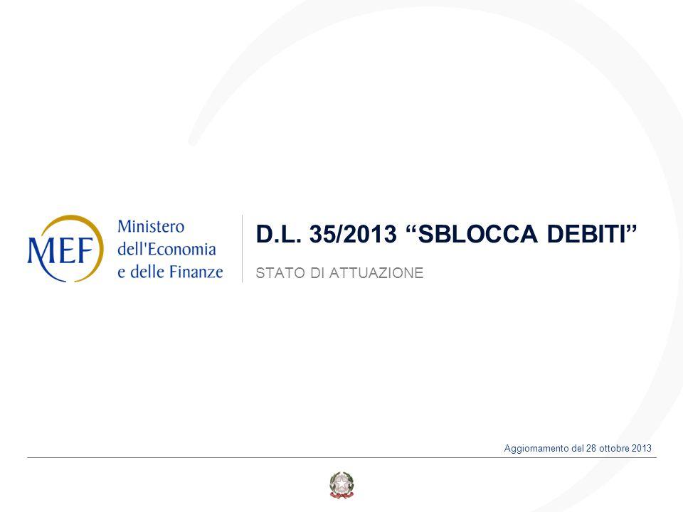 """D.L. 35/2013 """"SBLOCCA DEBITI"""" STATO DI ATTUAZIONE Aggiornamento del 28 ottobre 2013"""