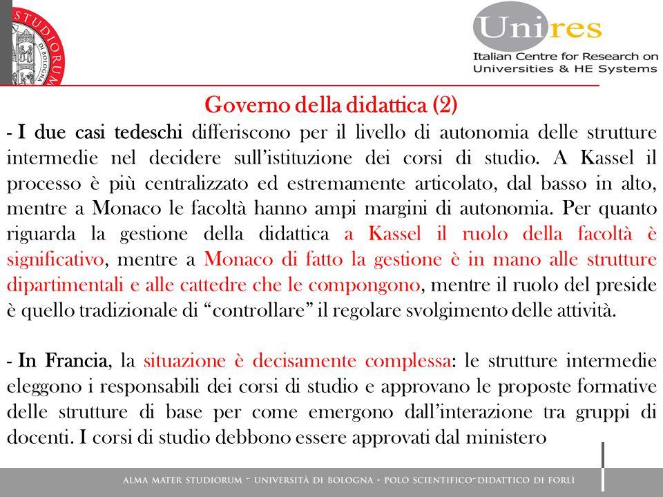 Governo della didattica (2) - I due casi tedeschi differiscono per il livello di autonomia delle strutture intermedie nel decidere sull'istituzione dei corsi di studio.