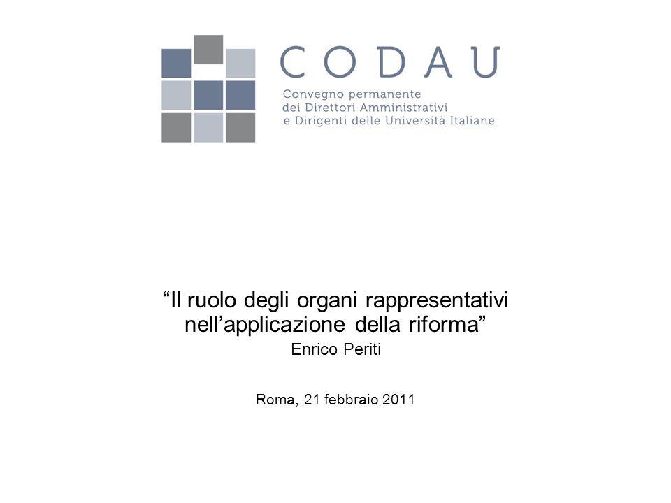 """""""Il ruolo degli organi rappresentativi nell'applicazione della riforma"""" Enrico Periti Roma, 21 febbraio 2011"""