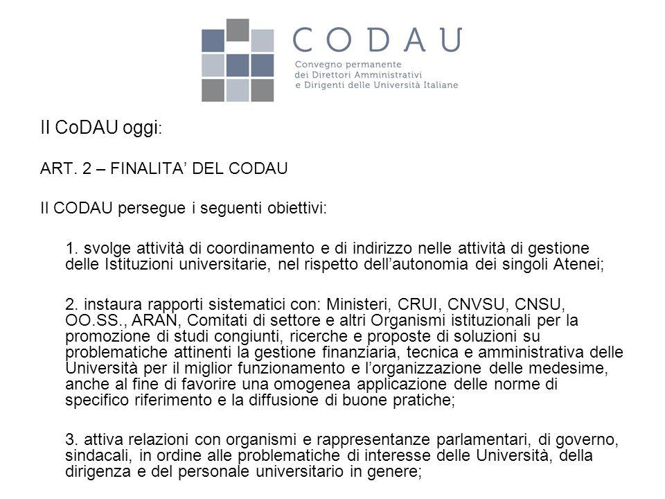 Il CoDAU oggi : ART. 2 – FINALITA' DEL CODAU Il CODAU persegue i seguenti obiettivi: 1. svolge attività di coordinamento e di indirizzo nelle attività