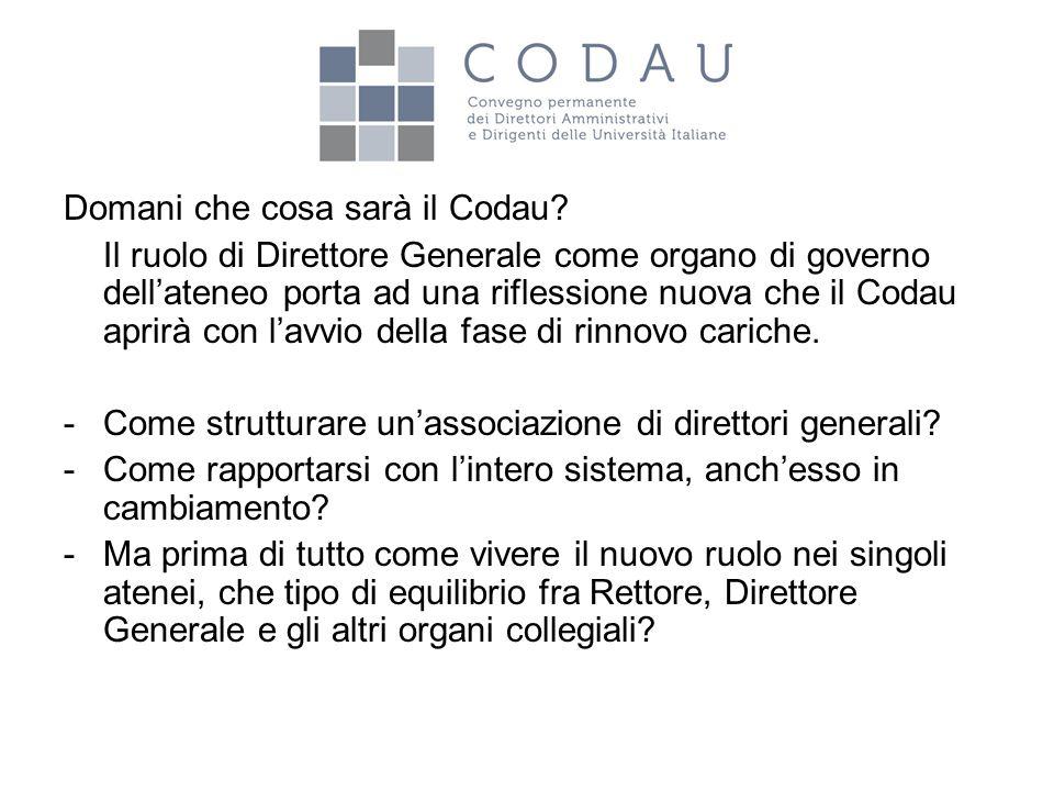 Domani che cosa sarà il Codau? Il ruolo di Direttore Generale come organo di governo dell'ateneo porta ad una riflessione nuova che il Codau aprirà co