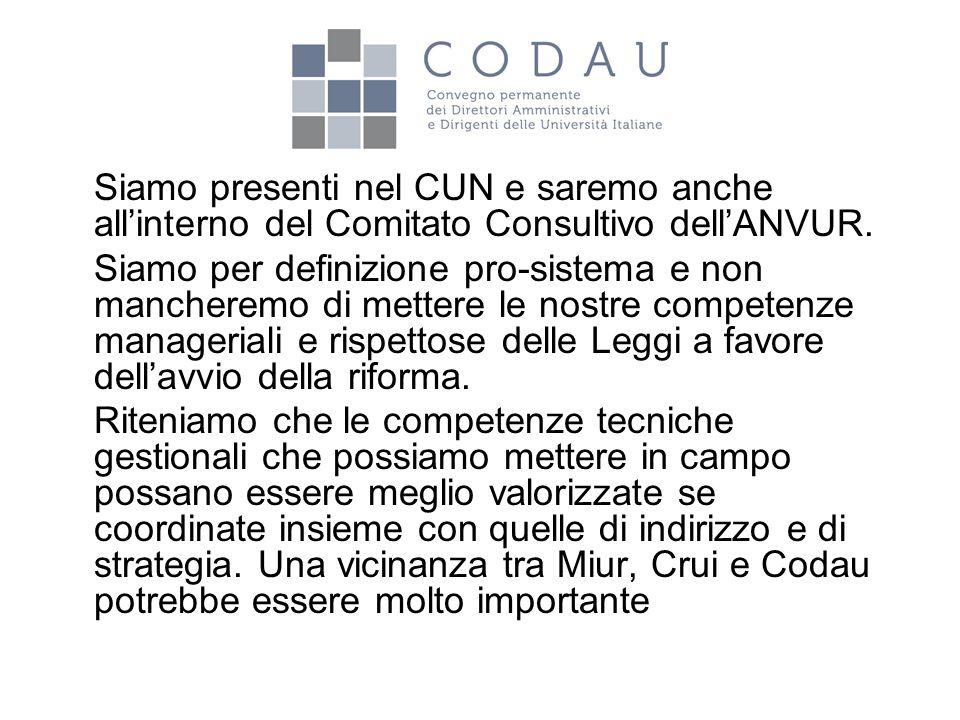 Siamo presenti nel CUN e saremo anche all'interno del Comitato Consultivo dell'ANVUR. Siamo per definizione pro-sistema e non mancheremo di mettere le