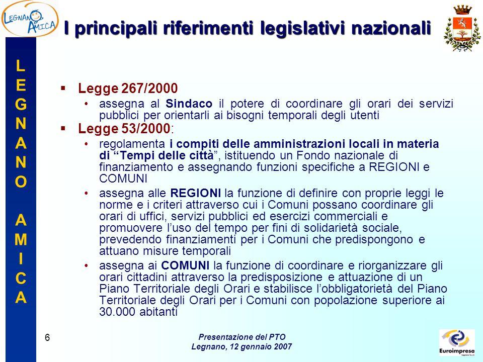 LEGNANOAMICALEGNANOAMICA Presentazione del PTO Legnano, 12 gennaio 2007 17 I prossimipassi I prossimi passi