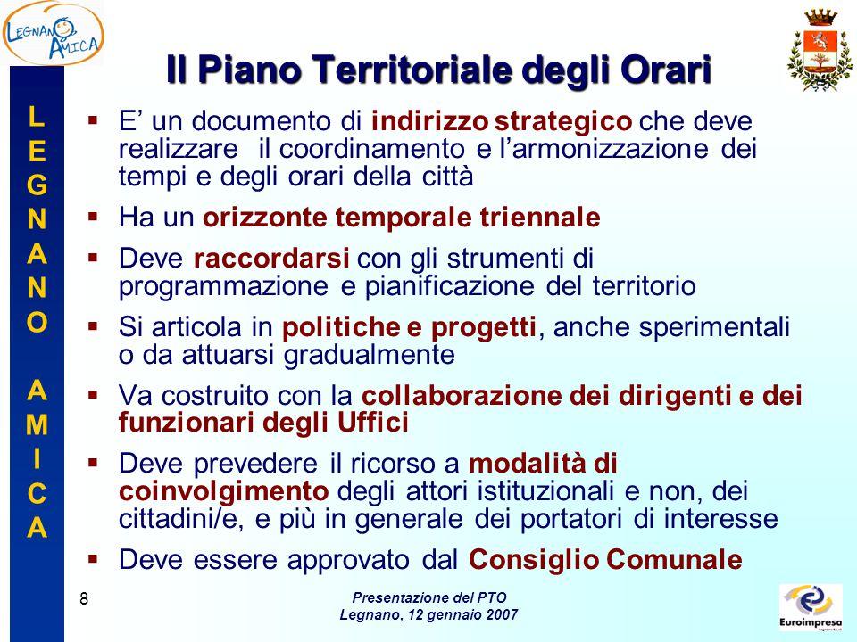 LEGNANOAMICALEGNANOAMICA Presentazione del PTO Legnano, 12 gennaio 2007 9 Il Progetto Legnano Amica
