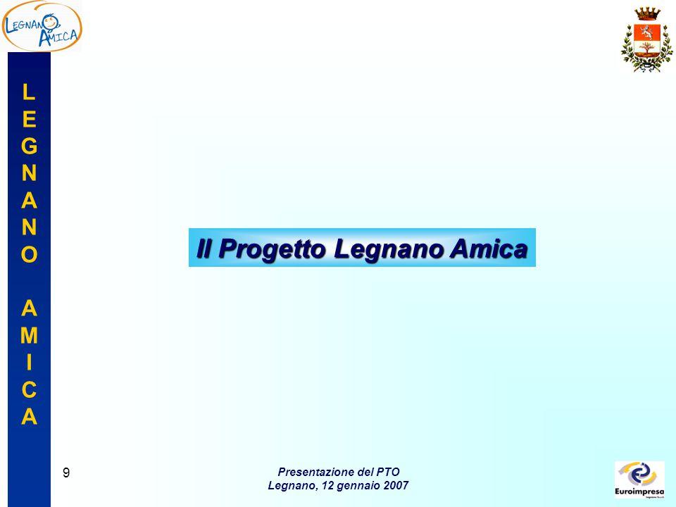 LEGNANOAMICALEGNANOAMICA Presentazione del PTO Legnano, 12 gennaio 2007 10 Caratteri generali del Progetto Tipologia  è promosso dal Comune di Legnano con il sostegno di un finanziamento della Regione Lombardia di 88.000euro Durata  ottobre 2006 – ottobre 2007.